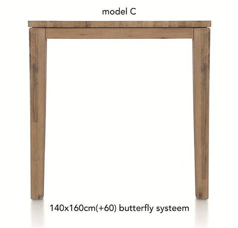 A La Carte, table de bar a rallonge 160 (+ 60) x 140 cm - COR-1