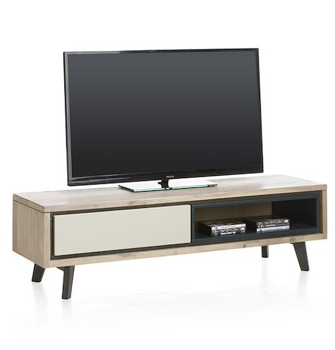 Jade, meuble tv 1-porte rabattante + 1-niche - 150 cm-1