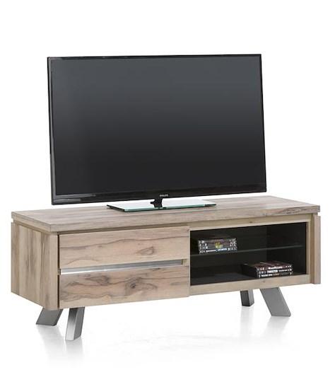 Ermont, meuble tv 1-porte rabattante + 2-niches - 130 cm-1