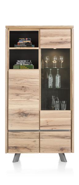 Ermont, armoire vitrine 1-porte en verre+1-porte+2-tiroirs+2-niches(+ LED)-1