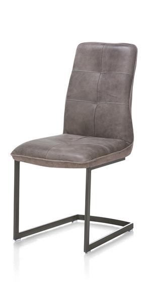 Milan leder, chaise - pietement vintage-1