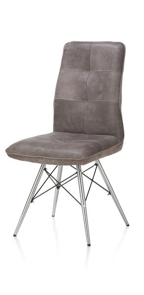 Milan leder, chaise - pied inox design