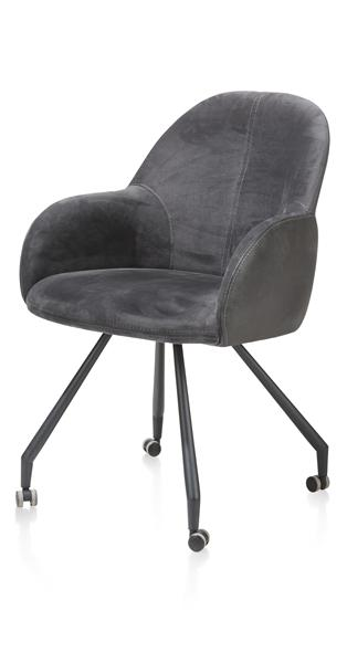 Clyde, dining armchair with wheels-1