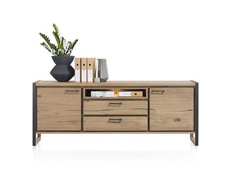 buffet 210cm 2 portes 2 tiroirs et une niche metalo heth. Black Bedroom Furniture Sets. Home Design Ideas