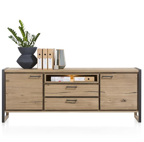 Metalo, sideboard 2-doors + 2-drawers + 1-niche - 210 cm (+ LED)-1