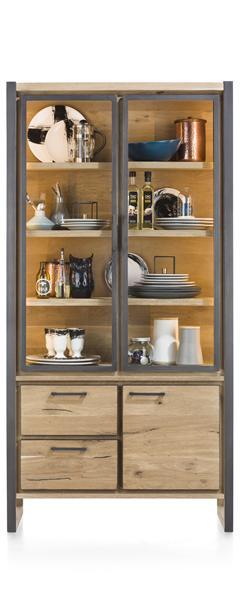 Metalo, glass cabinet 2-glass doors + 1-door + 2-drawers (+ LED)-1