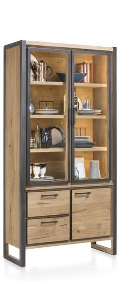 Metalo, vitrine 2-portes en verre + 1-porte + 2-tiroirs (+ LED)