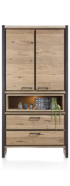 Metalo, armoire 2-portes + 2-tiroirs + 1-niche (+ LED)