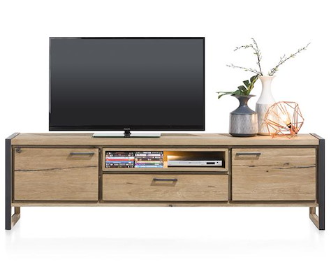 Metalo, lowboard 2-portes + 1-tiroir + 1-niche - 210 cm (+ LED)