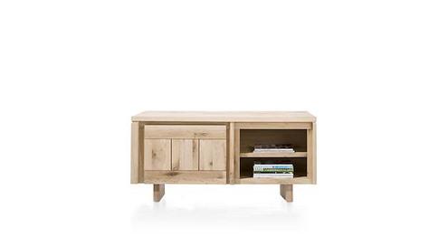 More, lowboard 1-porte + 2-niches 140 cm - bois