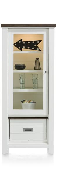 Velasco, vitrine basse 1-porte en verre + 1-box-1