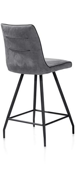 Maxim, chaise de bar - pied noir - Calabria avec passepoil Tatra anthracite-1