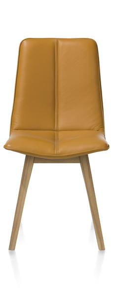 Lito, dining chair - beech cigar brown - Pegasso mustard / steelblue-1