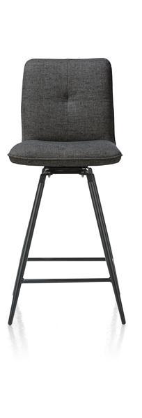 Milva, chaise de bar pivotante - pieds noir - Orlando anthracite ou mint