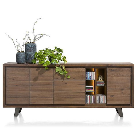 Box, sideboard 3-doors + 3-drawers + 5-niches - 210 cm (+ LED)-1