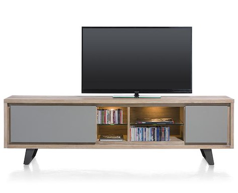 Box, lowboard 1-tiroir + 1-porte rabattante + 4-niches - 210 cm (+ LED)