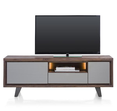 Box, lowboard 1-porte + 1-tiroir +1-porte rabattante +1-niche-170 cm (+LED)-1
