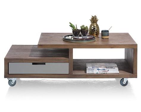 Box, coffee table 60 x 120 cm + 1-drawer t&t + 2-niches-1