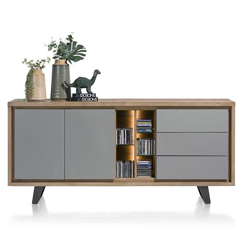Box, sideboard 2-doors + 3-drawers + 5-niches - 190 cm (+ LED)-1