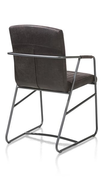 Loet, fauteuil - cadre metal couleur anthracite - cuir Corsica