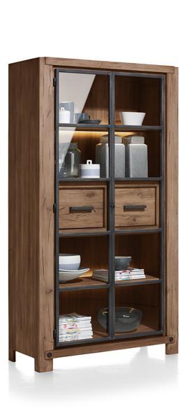 Maitre, vitrine 2-portes en verre + 2-tiroirs - 110 cm (+ 2x LED-STRIP)