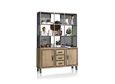 vitoria buffet parti haute 2 portes 3 tiroirs 9 niches 140 cm. Black Bedroom Furniture Sets. Home Design Ideas