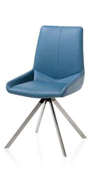 Levi, chaise - 4 pieds inox vertical - cuir Catania