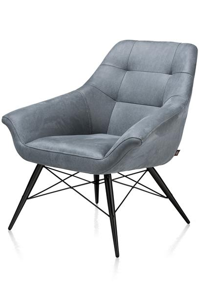 Ravenna, fauteuil cadre noir + tissu Kibo