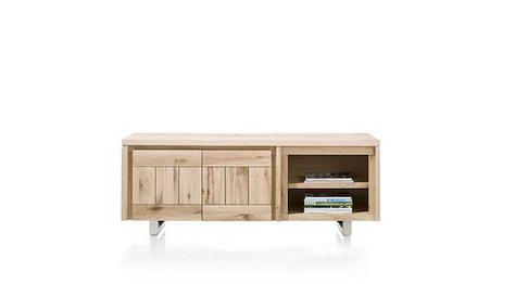 More, lowboard 2-portes + 2-niches 160 cm - inox