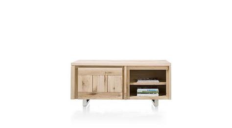 More, lowboard 1-porte + 2-niches 140 cm - inox