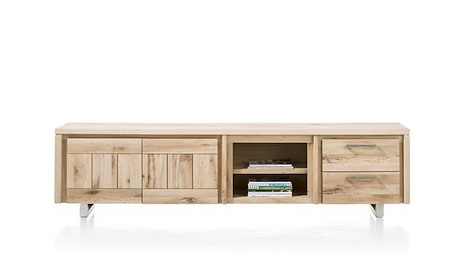 More, lowboard 2-portes + 2-tiroirs + 2-niches 240 cm - inox