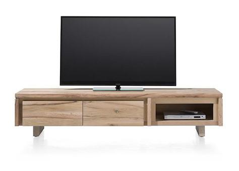 More, meuble tv 2-portes rabattantes + 1-niche 180 cm - bois
