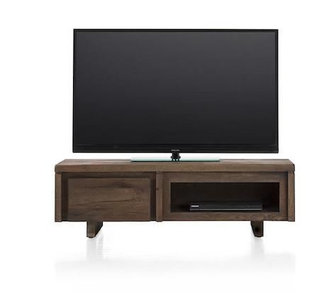 More, meuble tv 1-porte rabattante + 1-niche 120 cm - bois