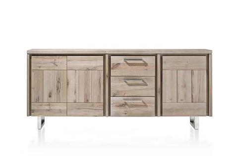 More, buffet 3-portes + 3-tiroirs 200 cm - inox