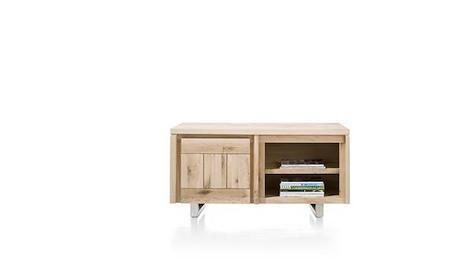 More, lowboard 1-porte + 2-niches 120 cm - inox