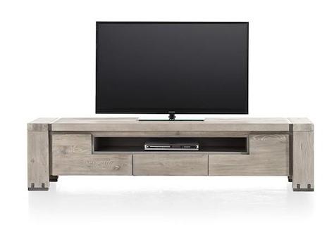 Avola, meuble tv 2-portes rabattantes + 1-tiroir + 1-niche - 190 cm