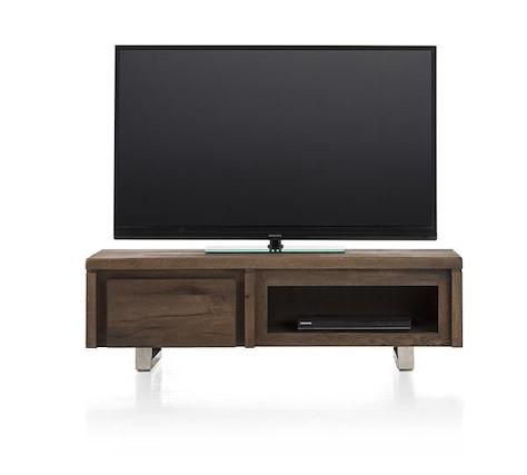More, meuble tv 1-porte rabattante + 1-niche 120 cm - inox