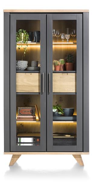 Jardin, vitrine 2-portes en verre + 2-tiroirs (dedans) - 110 cm (+ LED)
