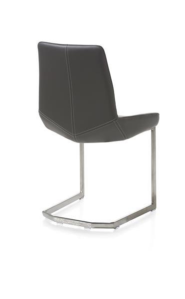 Levi, chaise - pied traineau inox carre - cuir Catania