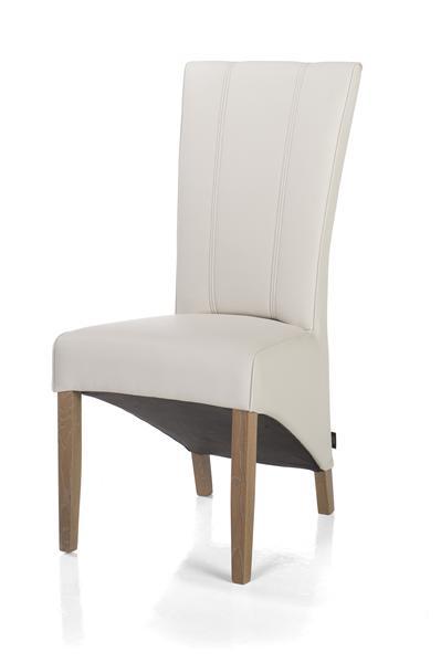Lydia, dining chair - truffel leg + leatherlook Moreno misty-1