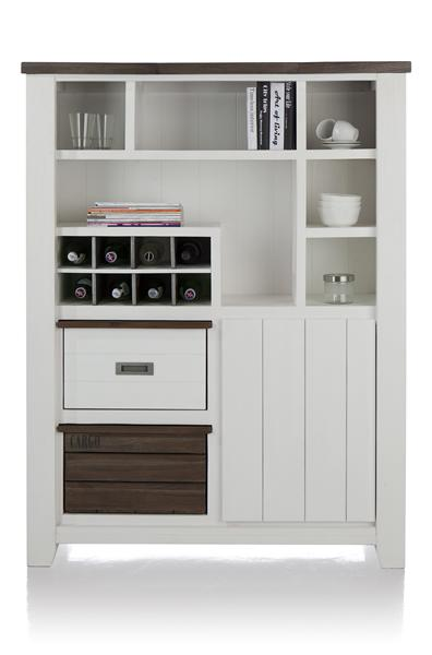 Velasco, armoire 1-porte + 2-corbeilles + 6 niches + 8-niches a bouteilles
