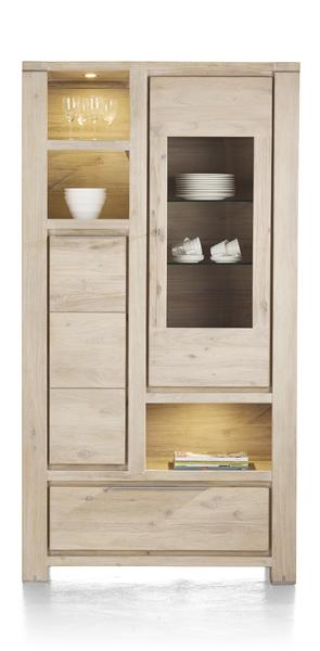Buckley, vitrine haute 1-porte en verre + 1-porte +1-tiroir +3-niches(+LED)-1