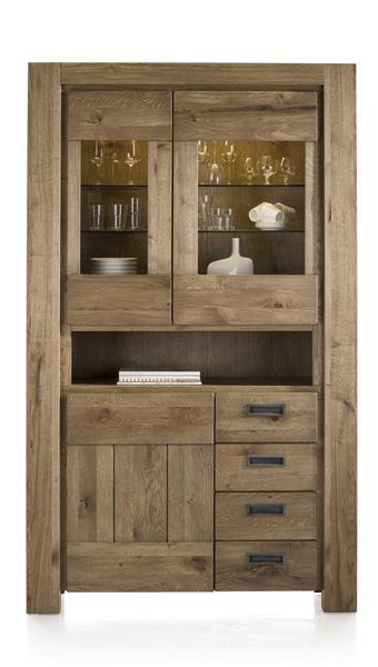 Santorini, glass cabinet 2-glass doors+1-door+3-drawers+1-niche(+LED strip)-1