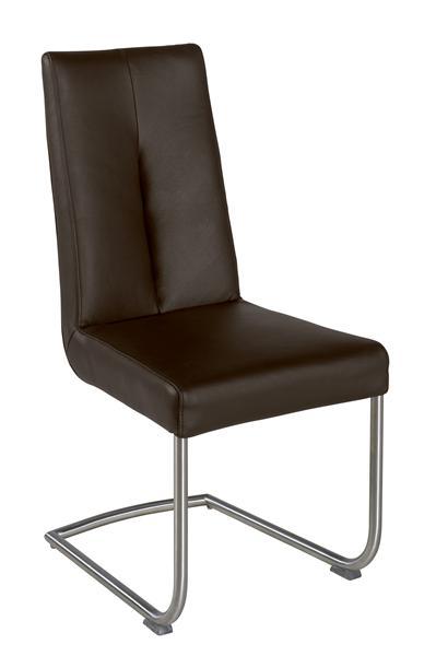 Yorick, chaise inox + cuir Catania-1