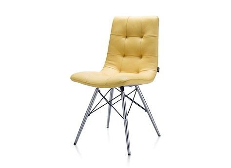 Chaise alec inox pied conique catania jaune heth for Chaise un pied