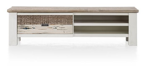 Tibro, meuble tv 1-porte rabattante + 2-niches - 145 cm-1