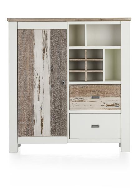 Tibro, highboard 1-porte + 2-corbeilles + 3-niches + 6-niches de vin-130 cm-1