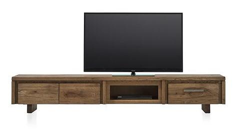 Masters, meuble tv 2-portes rabattantes + 1-tiroir + 1-niche 220 cm - bois