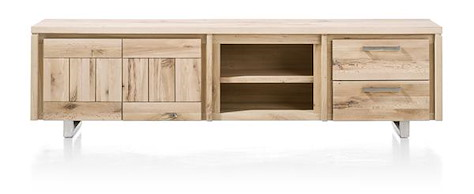 More, lowboard 2-doors + 2-drawers + 2-niches 220 cm - stainless steel-1