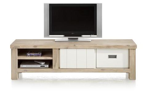 Istrana, meuble tv 1-porte coulissante + 1-tiroir + 2-niches 160 cm-1